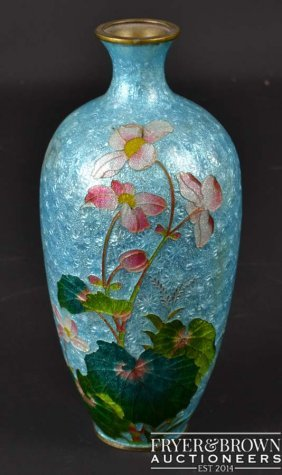 A Japanese Ginbari CloisonnŽ Vase, Decorated With Pink