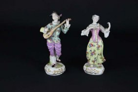 A Pair Of Continental Figures Of Musicians, She Playing