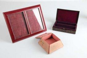 A Small Crocodile Skin Trinket Box; Together With A