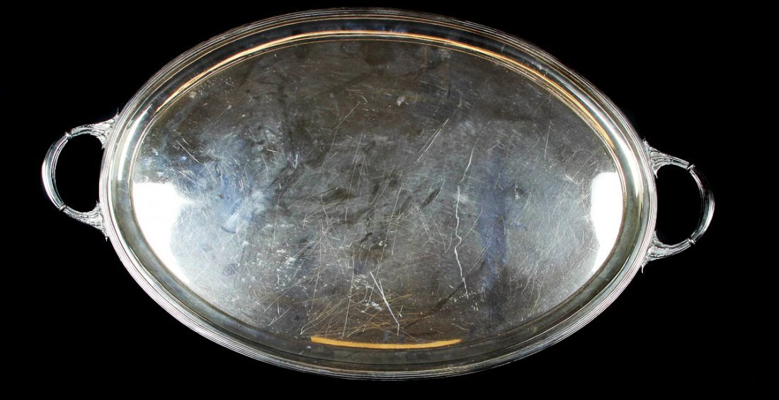 A large oval silver plated two handled tea tray,