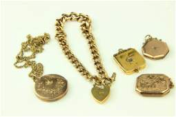 A late Victorian 18ct yellow gold curb link bracelet; a