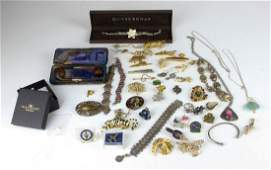 A small box of costume jewellery, including a modern