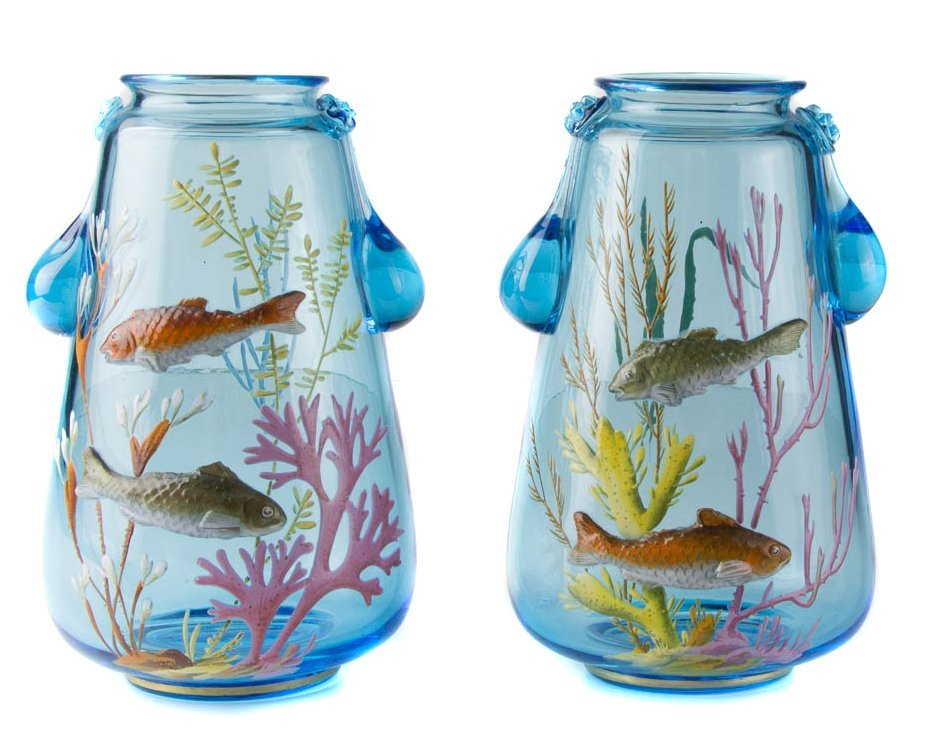A pair of Bohemian turquoise blue glass vases, probably