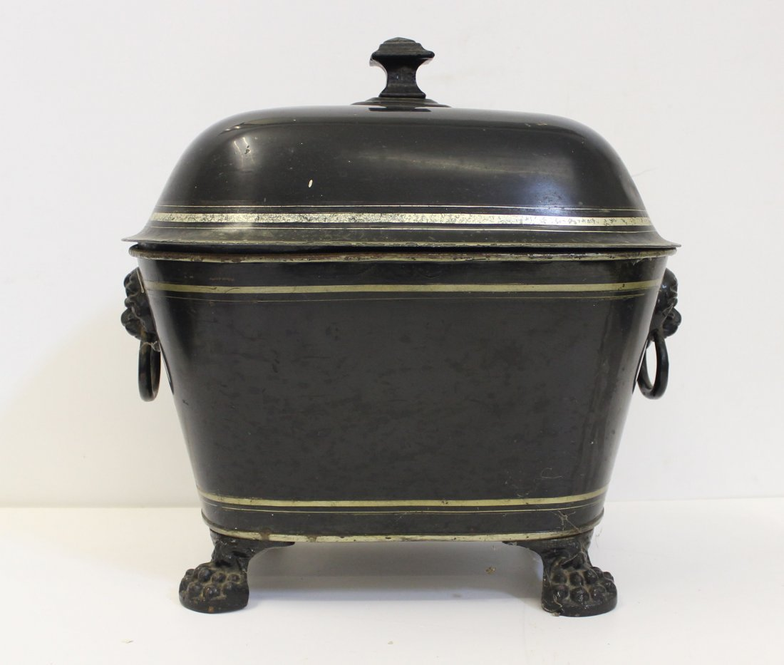 A Georgian Toleware coal bucket and cover and rounded