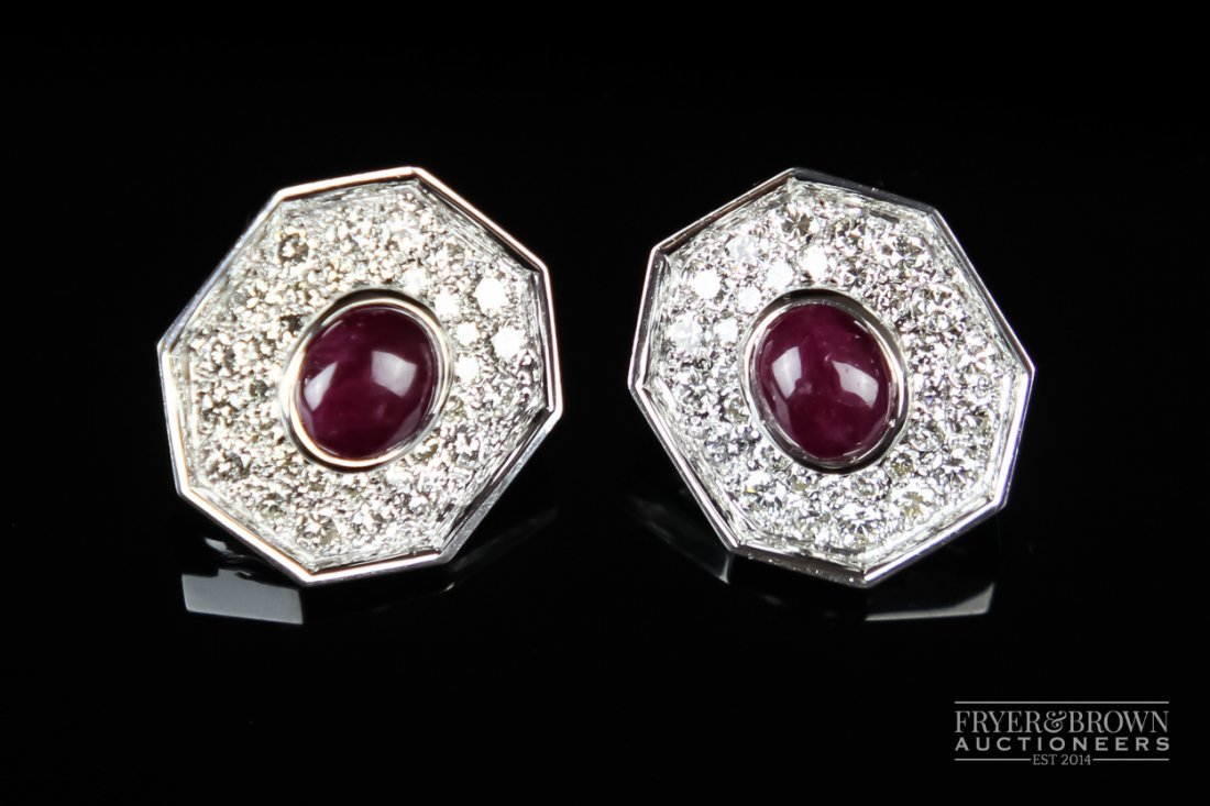 A fine and attractive pair of ruby and diamond