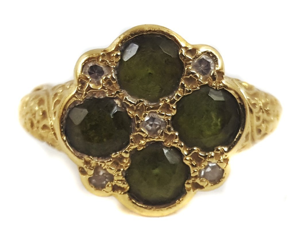 An 18ct gold tourmaline and diamond cluster ring, the