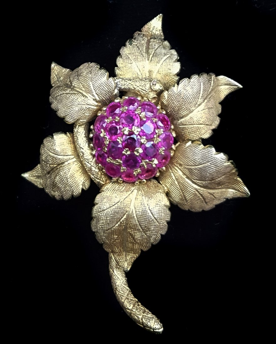 A 1960's 18ct yellow gold and ruby flower and serpent