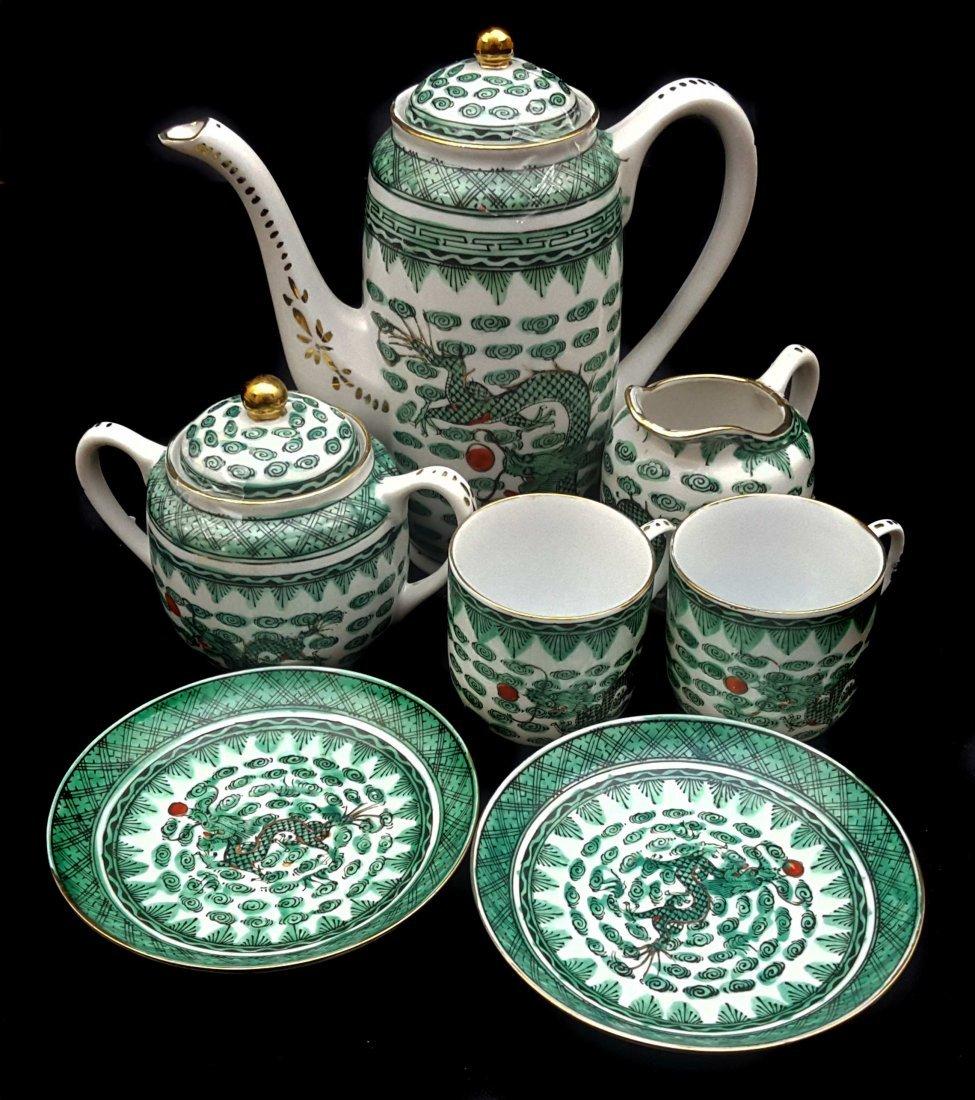 A Chinese fammile verte porcelain coffee tete a tete