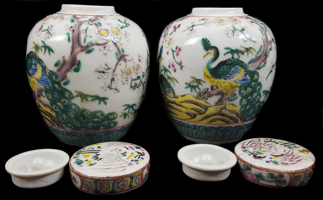 A pair of Chinese porcelain style pot pourri jars and - 2