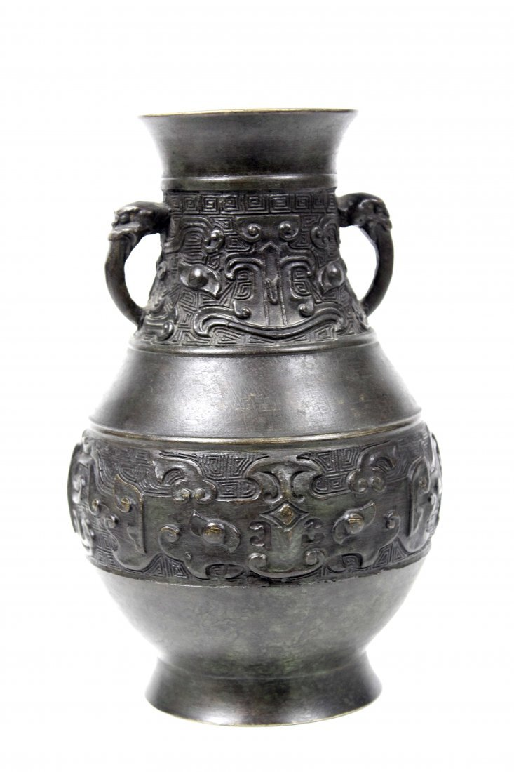 A Chinese archaistic style bronze vase of baluster form
