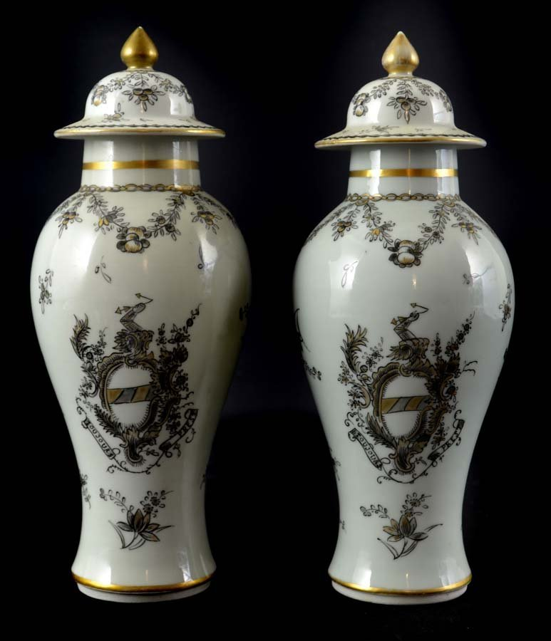 A pair of Samson porcelain vases and covers, in Chinese