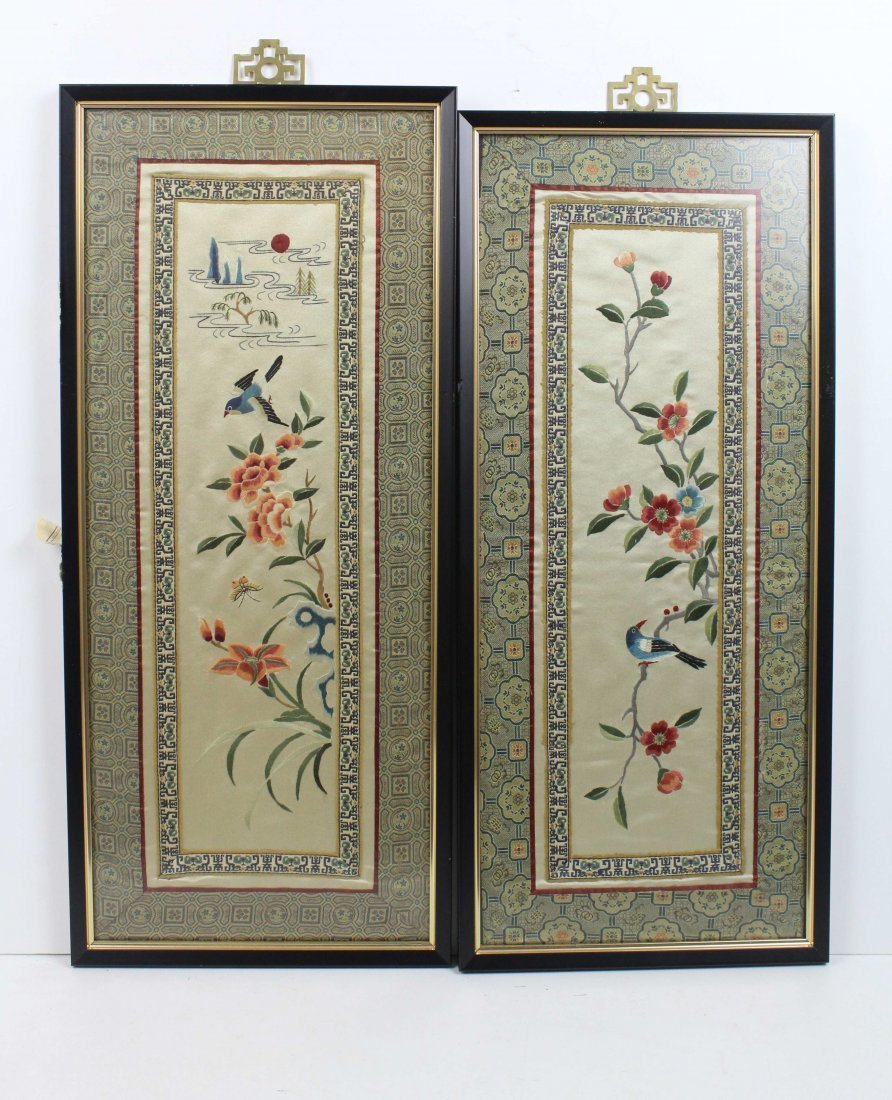 A pair of Chinese silk work embroideries of birds with