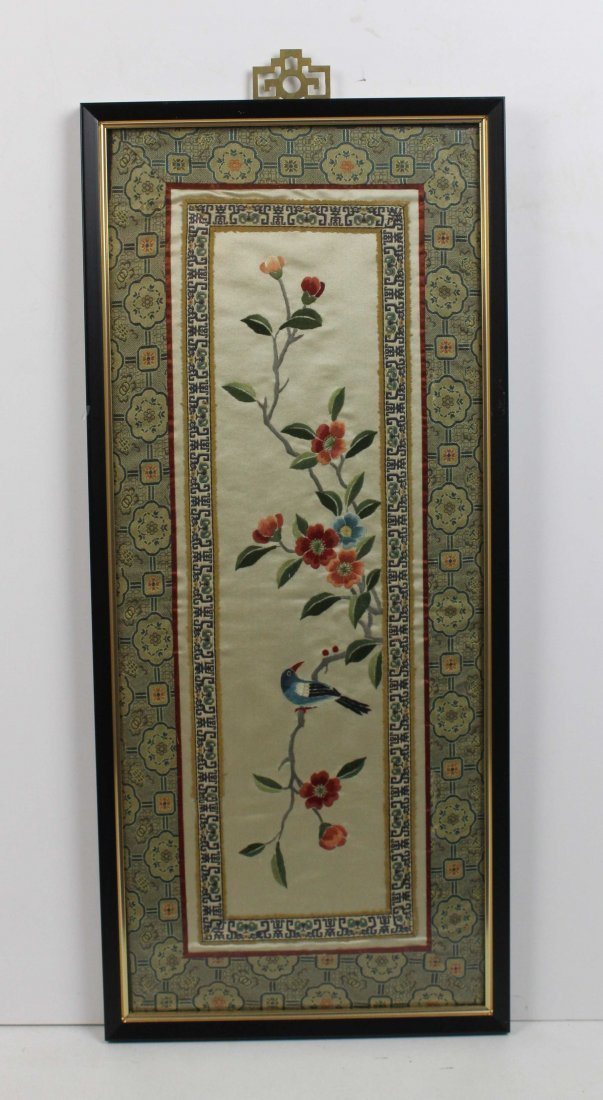 A pair of Chinese silk work embroideries of birds with - 2