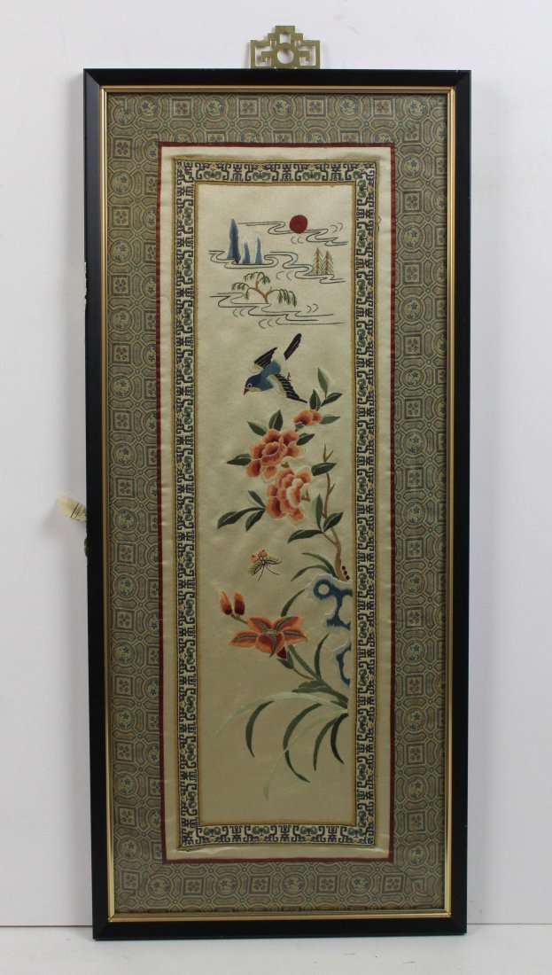 A pair of Chinese silk work embroideries of birds with - 3