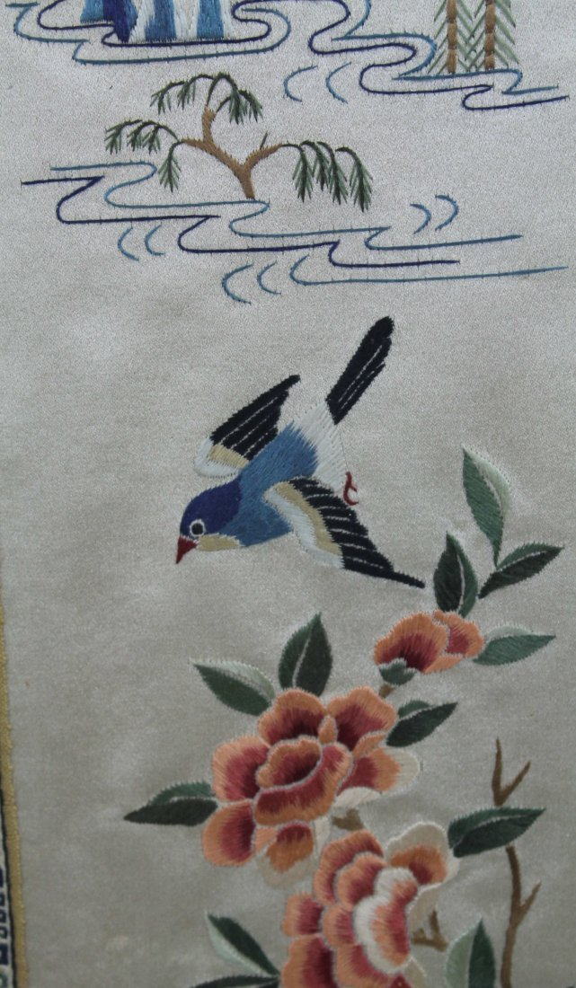 A pair of Chinese silk work embroideries of birds with - 4
