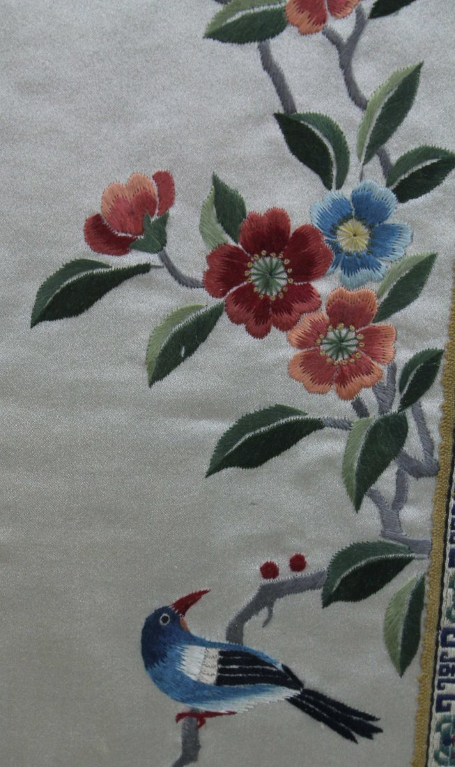 A pair of Chinese silk work embroideries of birds with - 5