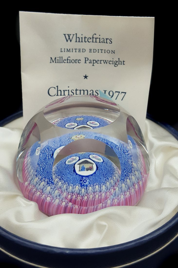 A Whitefriars glass paperweight, Christmas 1977,