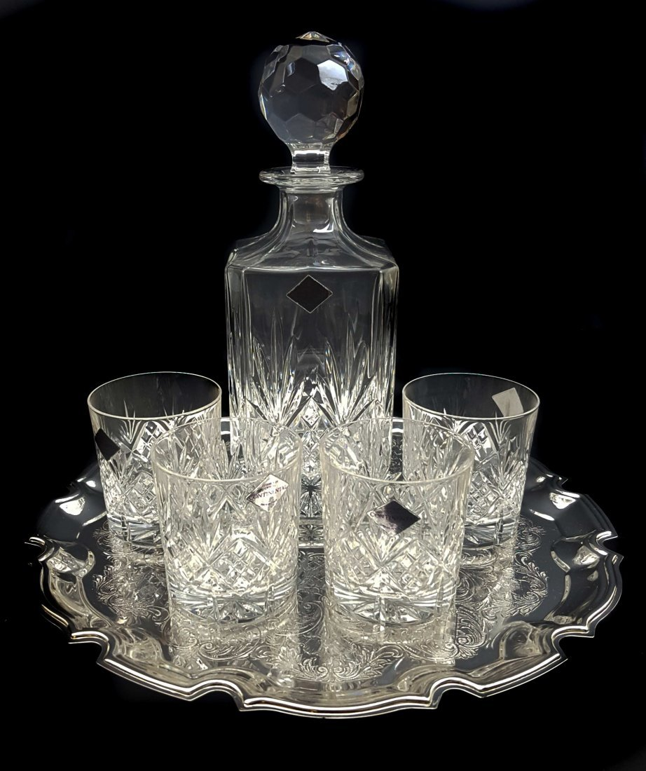 An Edinburgh crystal continental glass decanter with