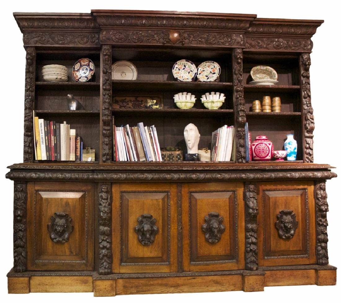 A Continental Carved Oak Bookcase, 19th century