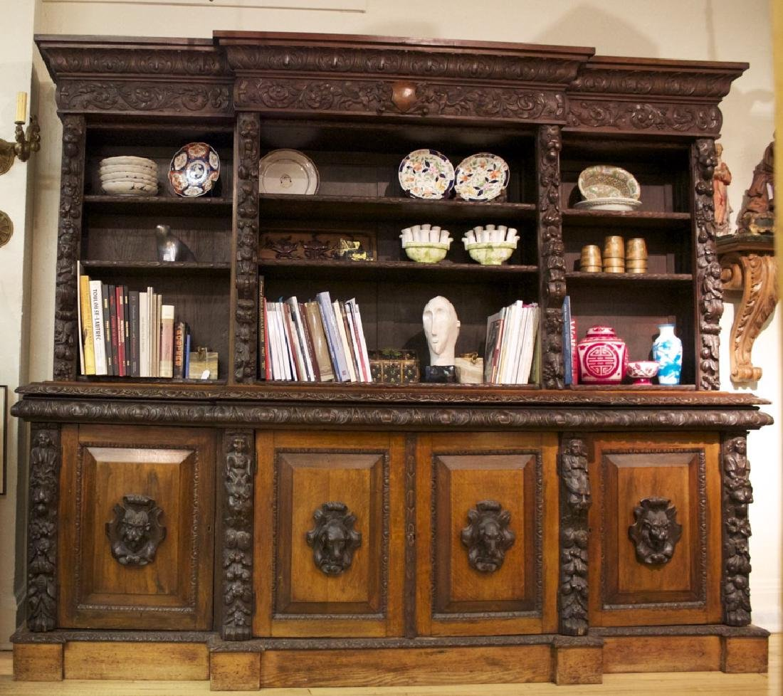 A Continental Carved Oak Bookcase, 19th century - 2