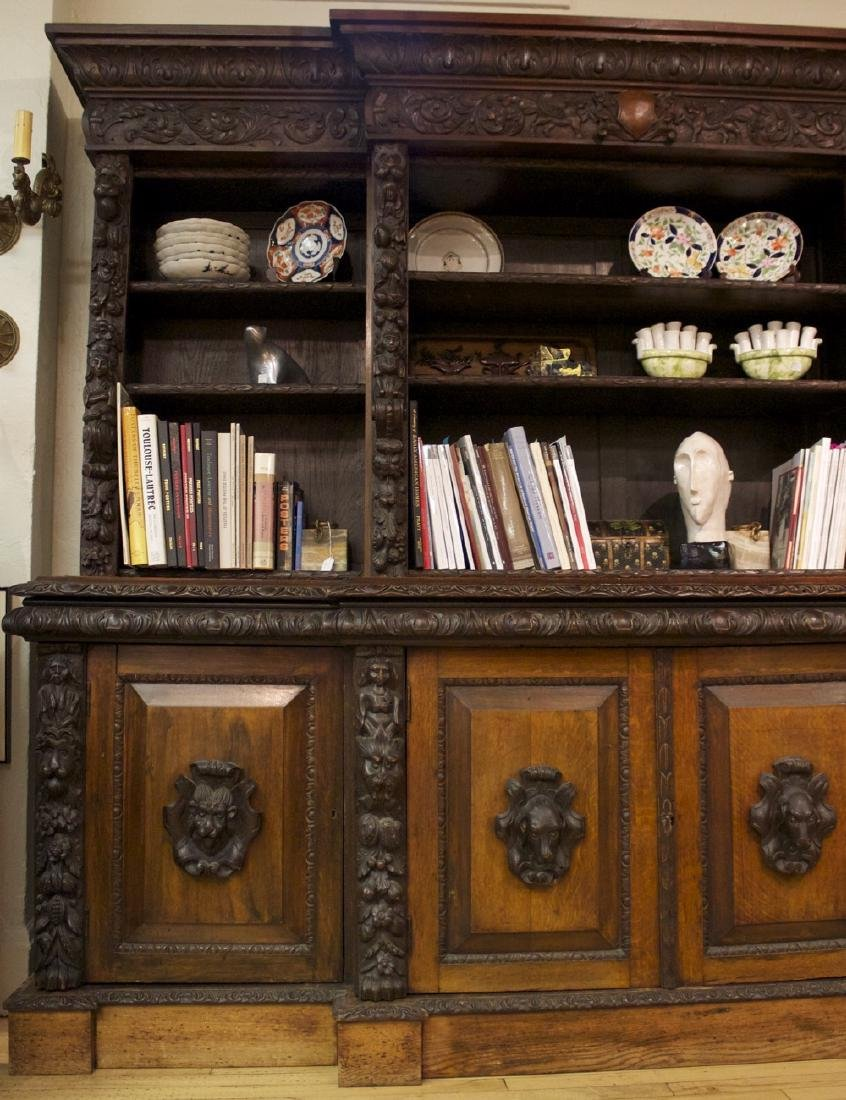 A Continental Carved Oak Bookcase, 19th century - 3