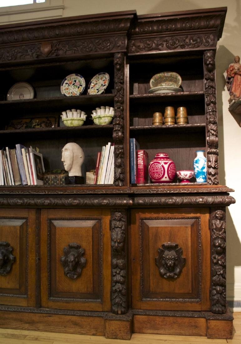 A Continental Carved Oak Bookcase, 19th century - 4