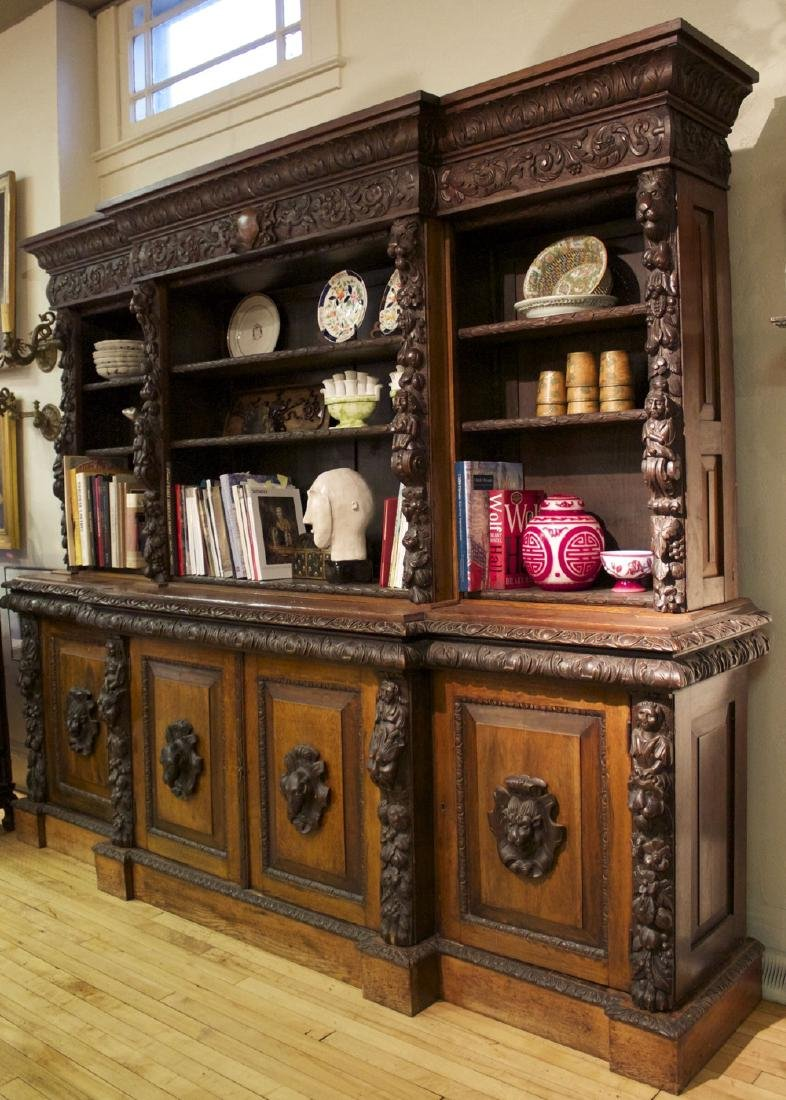 A Continental Carved Oak Bookcase, 19th century - 5