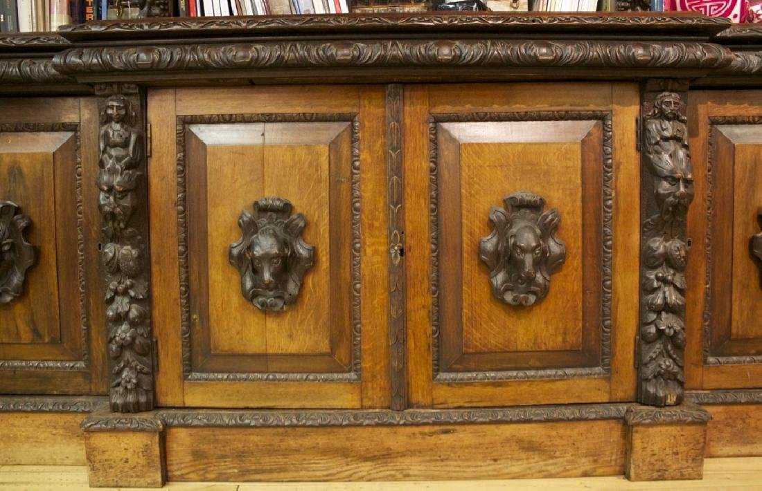 A Continental Carved Oak Bookcase, 19th century - 6
