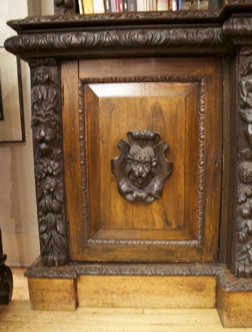 A Continental Carved Oak Bookcase, 19th century - 7