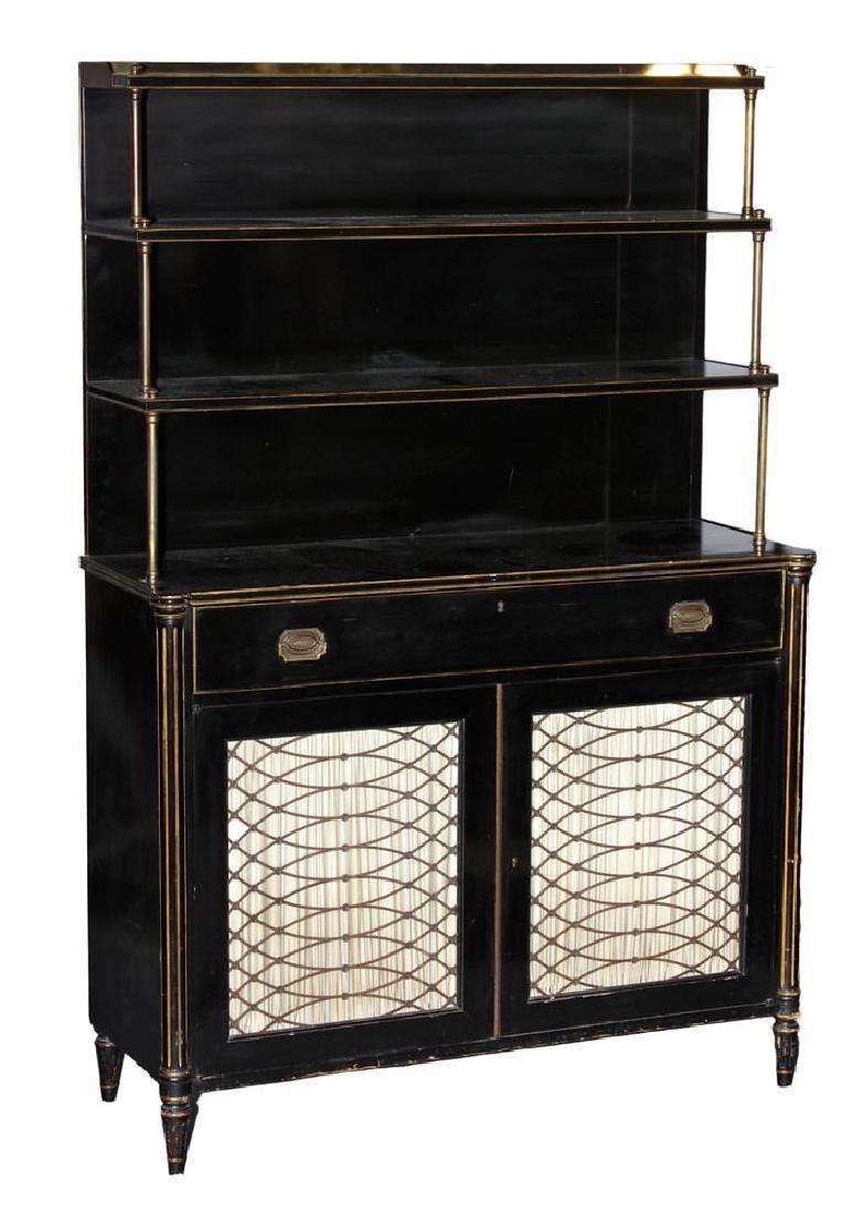 A Regency Style Ebonized Secretary Bookcase, Early 20th