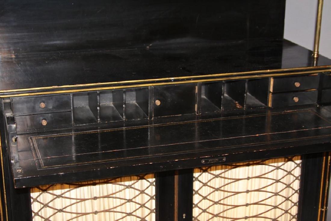 A Regency Style Ebonized Secretary Bookcase, Early 20th - 5