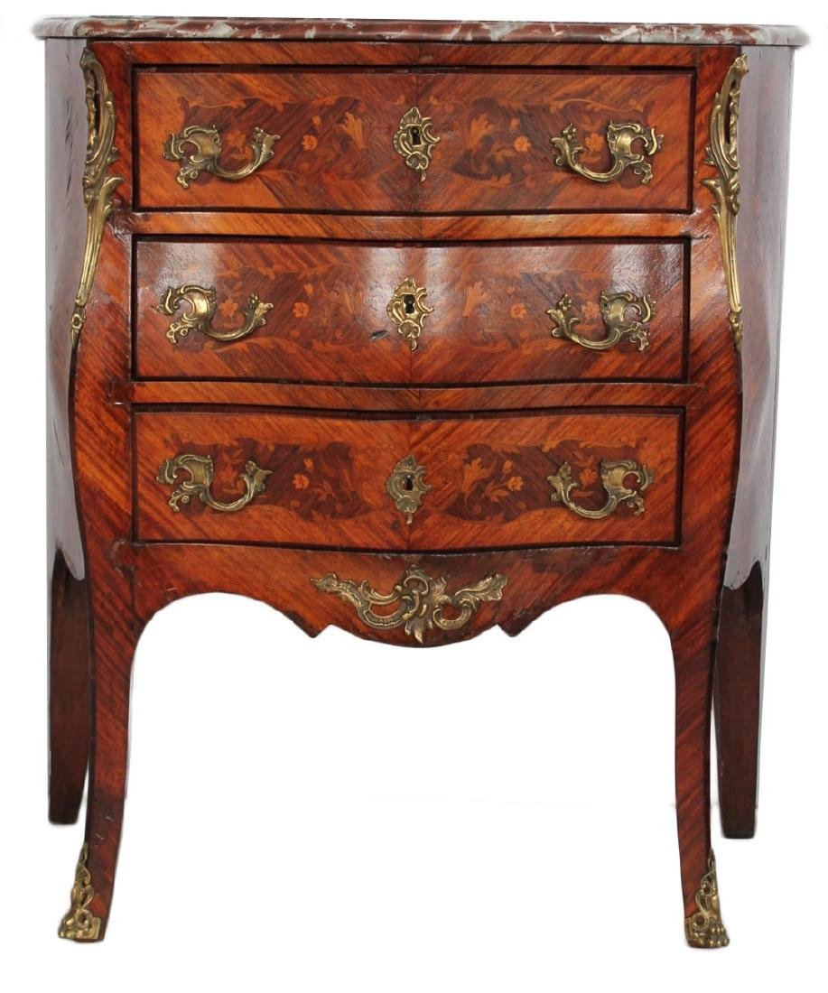 Louis XV Inlaid Marble Top Bombe Petite Commode, 18thc. - 2