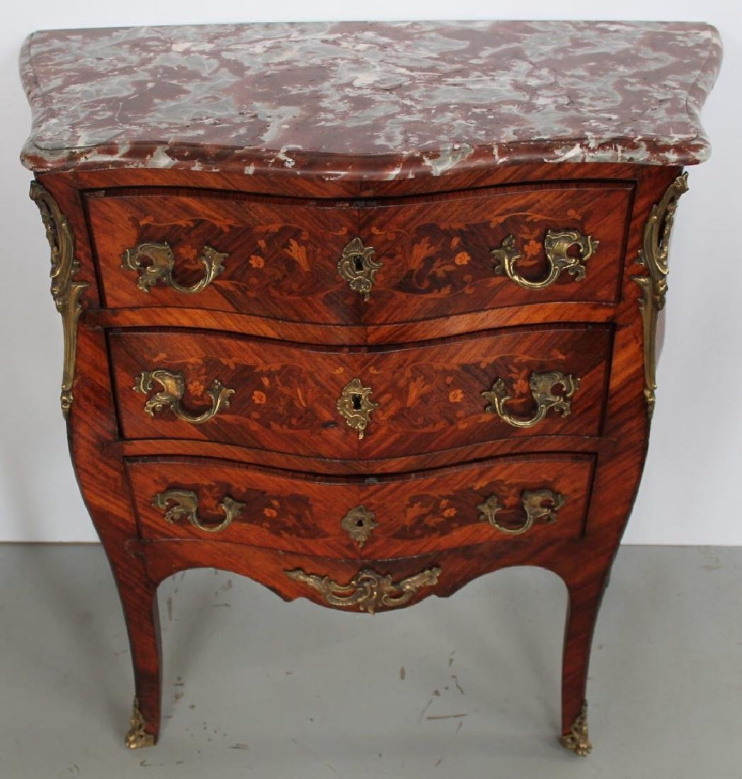 Louis XV Inlaid Marble Top Bombe Petite Commode, 18thc. - 3
