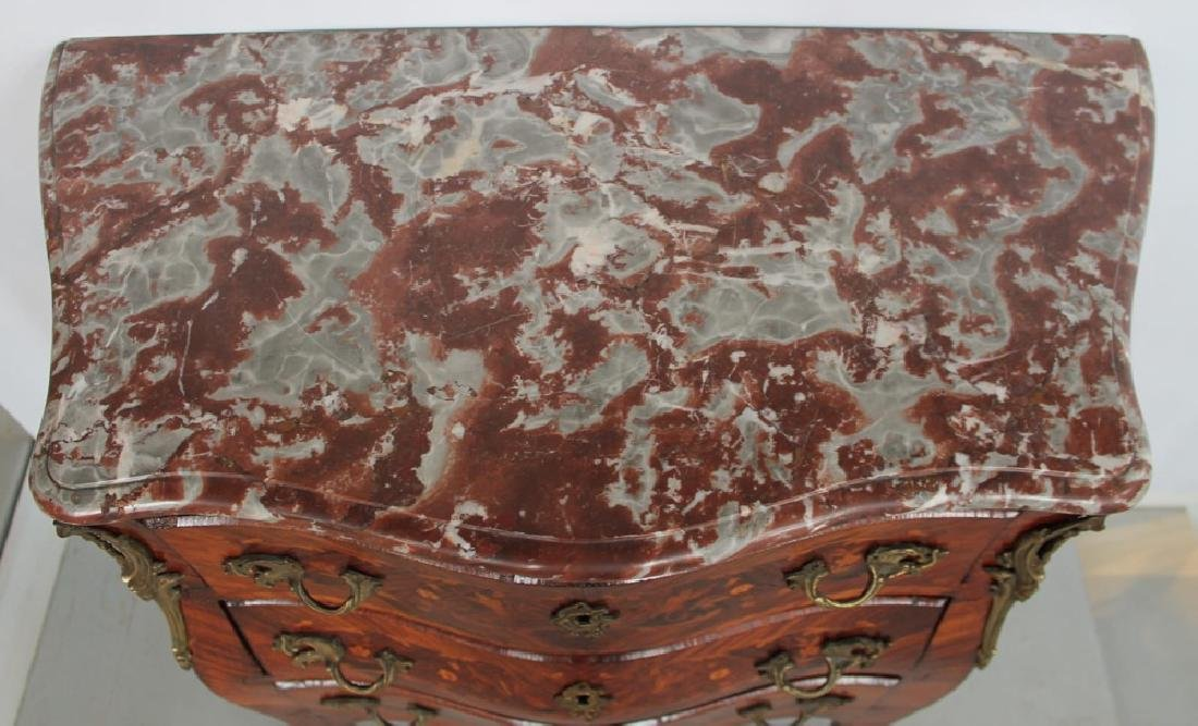 Louis XV Inlaid Marble Top Bombe Petite Commode, 18thc. - 6