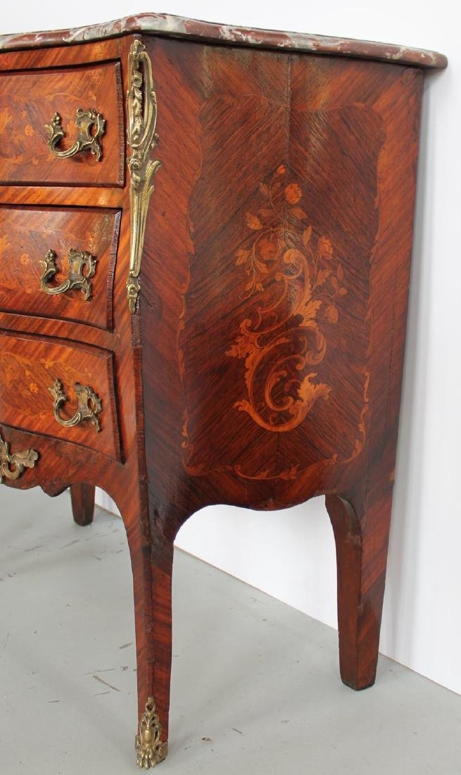 Louis XV Inlaid Marble Top Bombe Petite Commode, 18thc. - 7