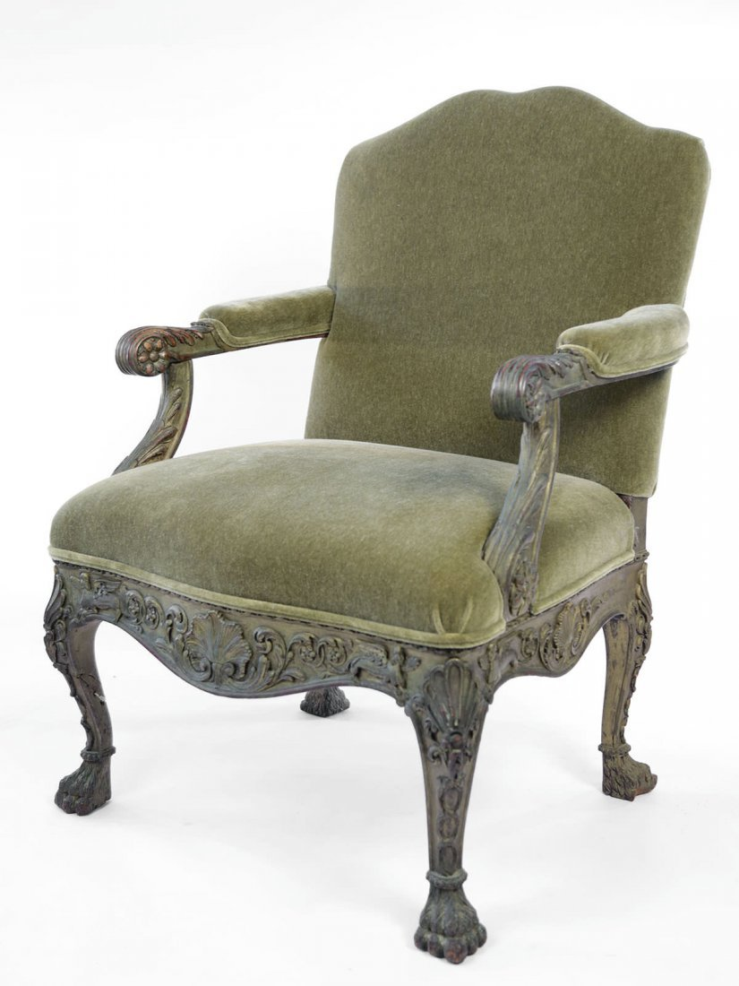 Georgian Style Painted Armchair, 19thc., ca. 1895