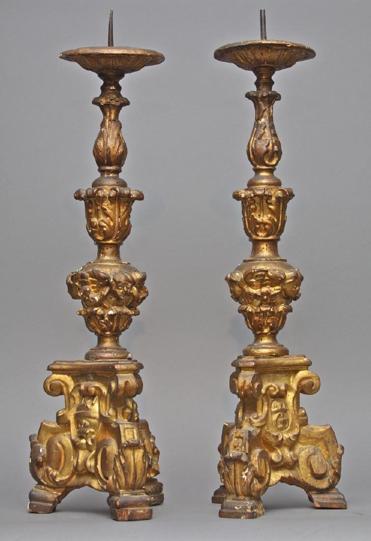 A Pair of Venetian Baroque Pricket Sticks, 18th c.
