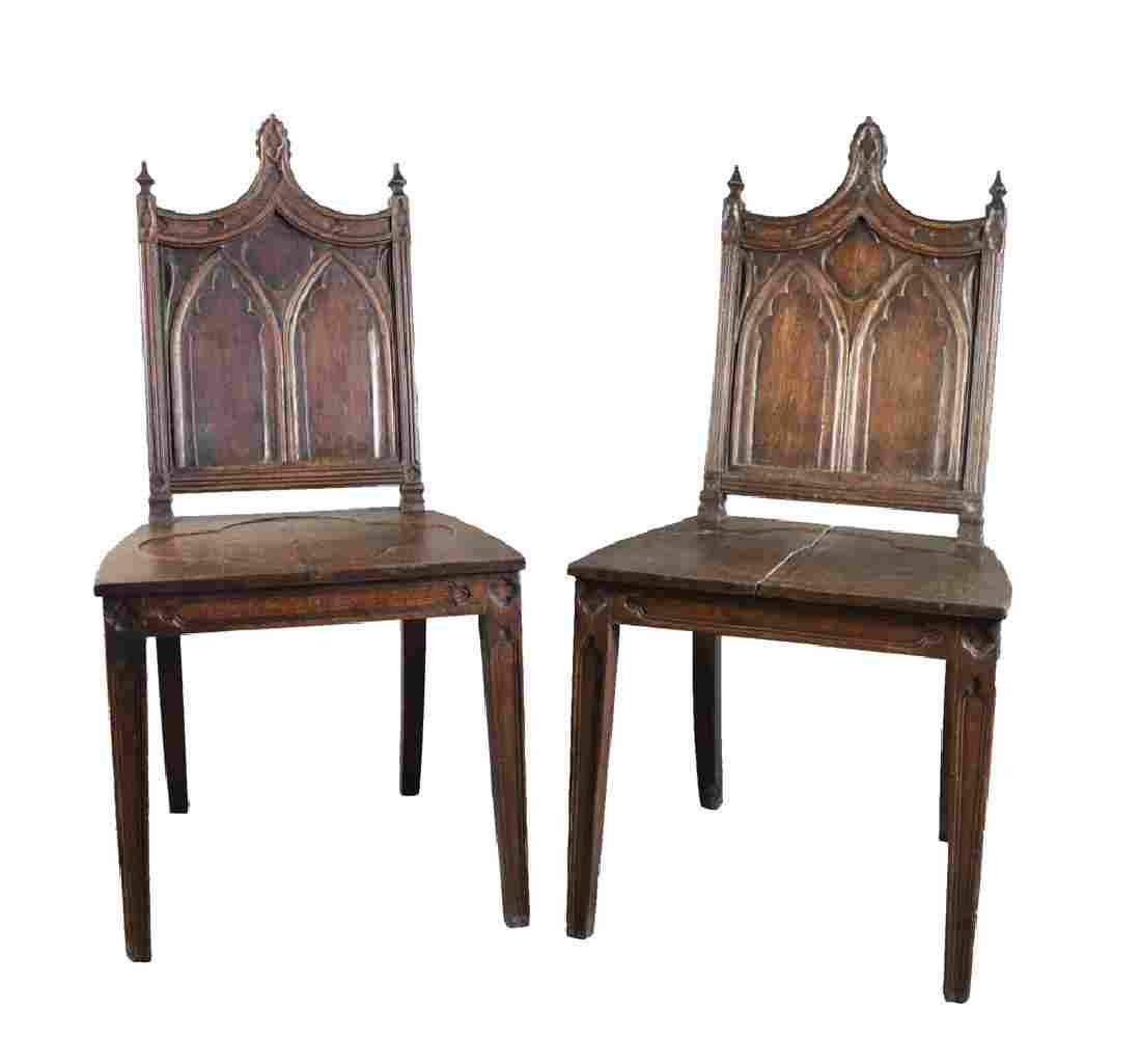 Pair Gothic Style English Oak Hall Chairs, 19thc.