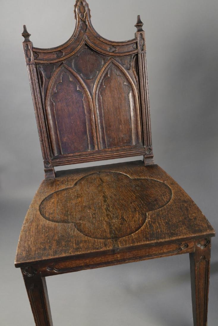 Pair Gothic Style English Oak Hall Chairs, 19thc. - 3