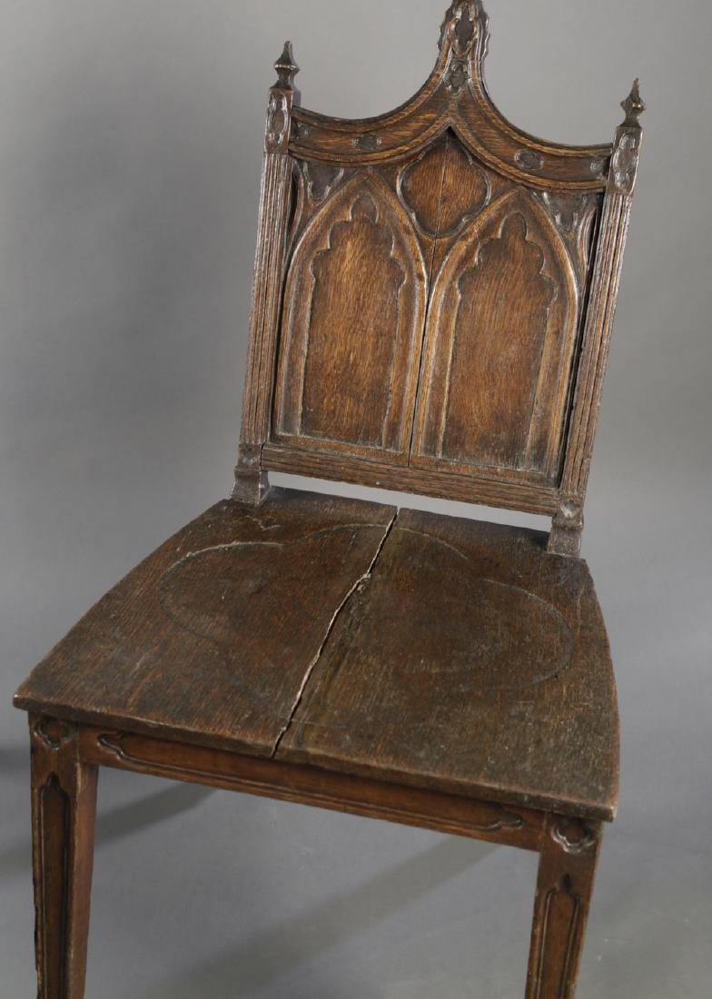 Pair Gothic Style English Oak Hall Chairs, 19thc. - 4