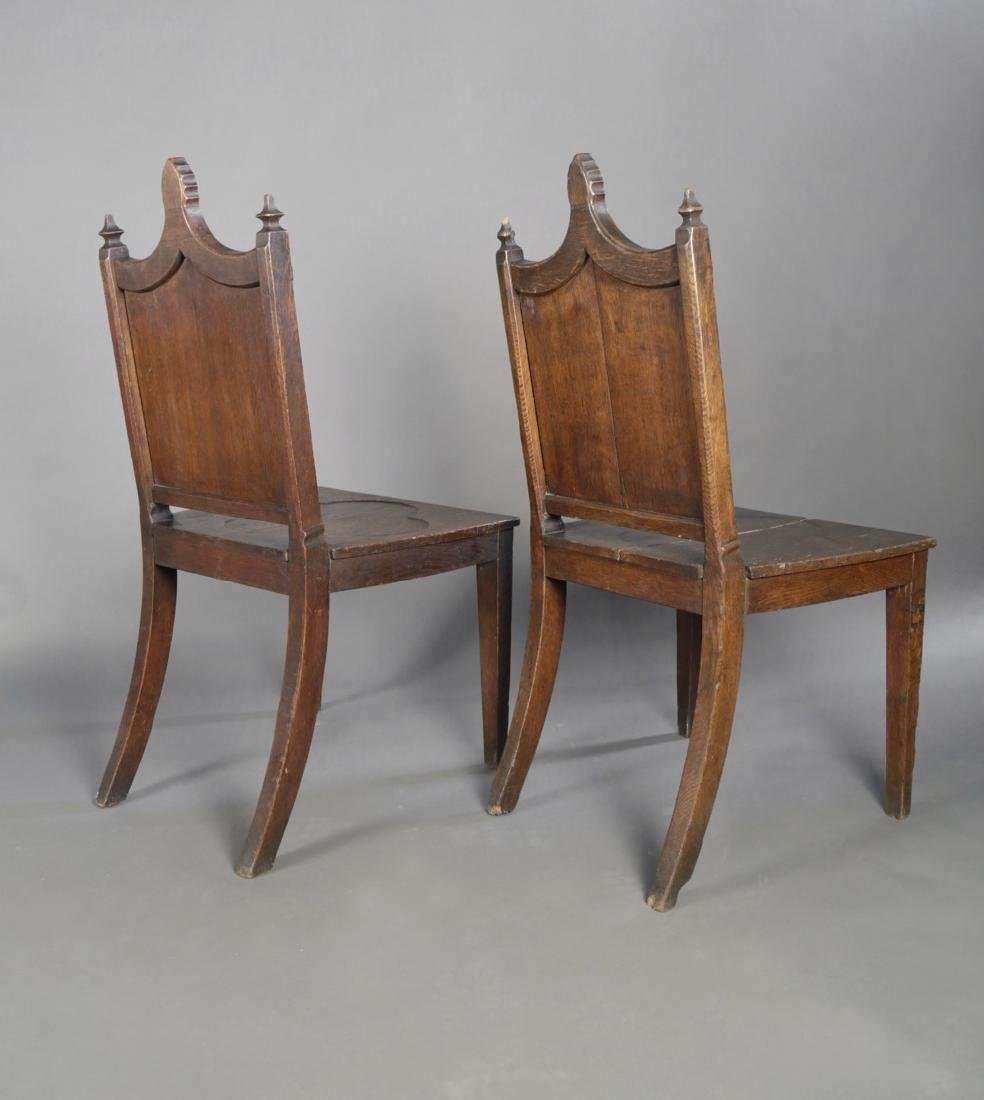 Pair Gothic Style English Oak Hall Chairs, 19thc. - 5