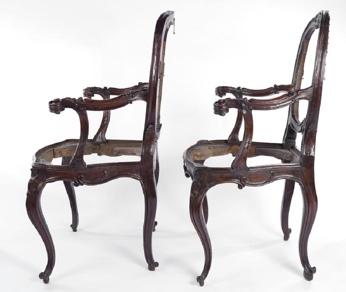 Pair Italian Walnut Armchairs, Rococo, 18thc. - 2