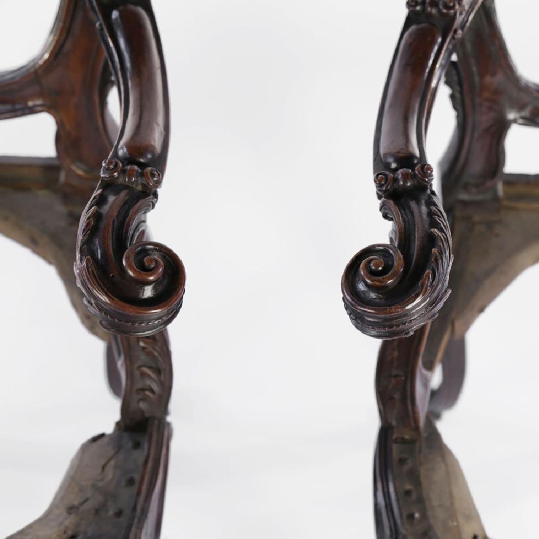 Pair Italian Walnut Armchairs, Rococo, 18thc. - 8