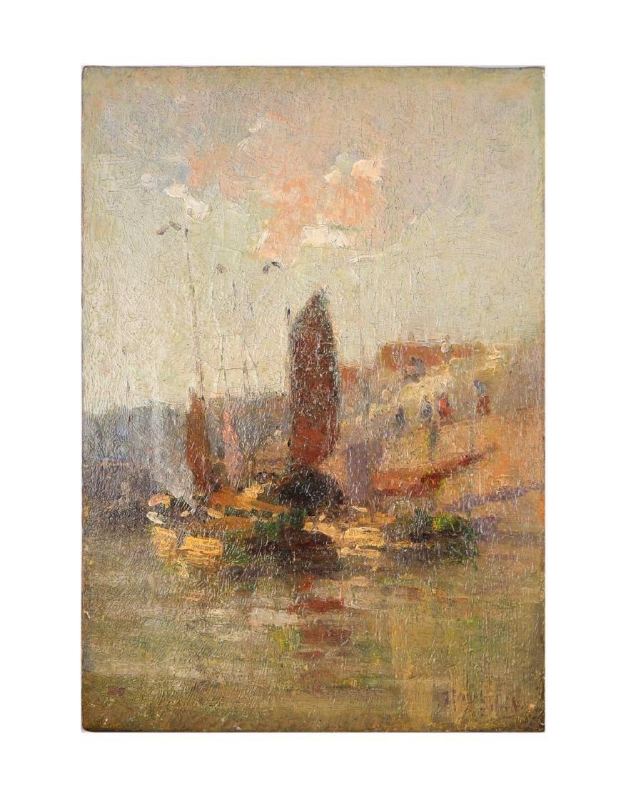 19thc. Dutch or British School - Harbor Scene
