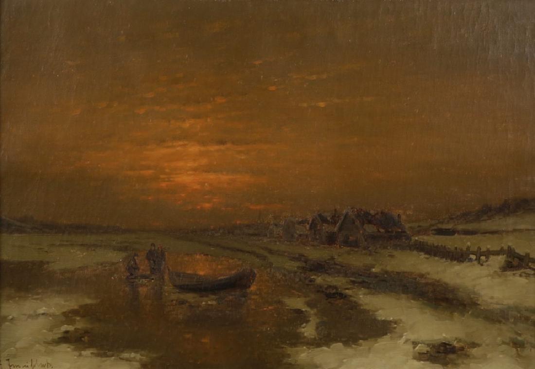Ice Fishing at Dusk, 19th Century Dutch School