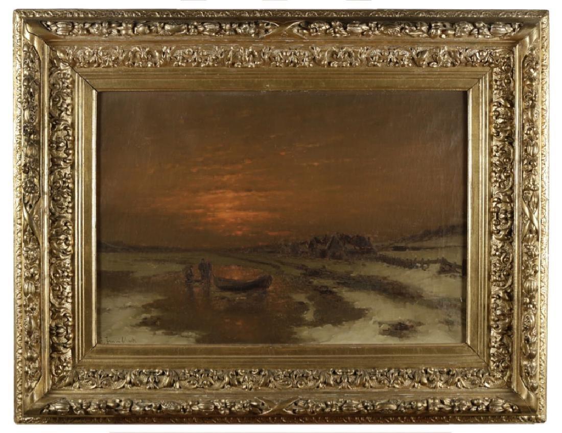 Ice Fishing at Dusk, 19th Century Dutch School - 2
