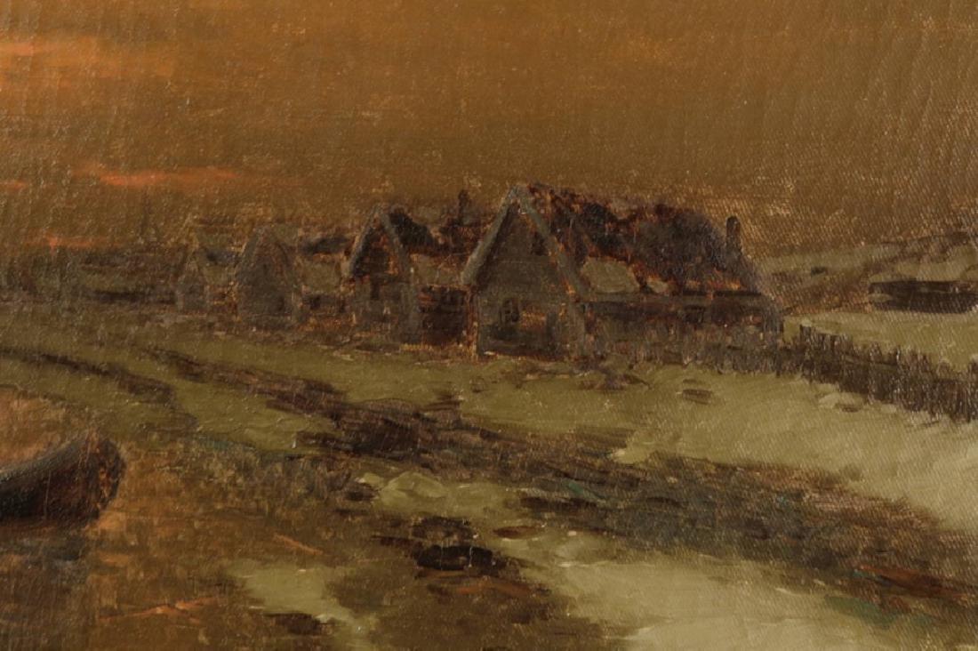 Ice Fishing at Dusk, 19th Century Dutch School - 3