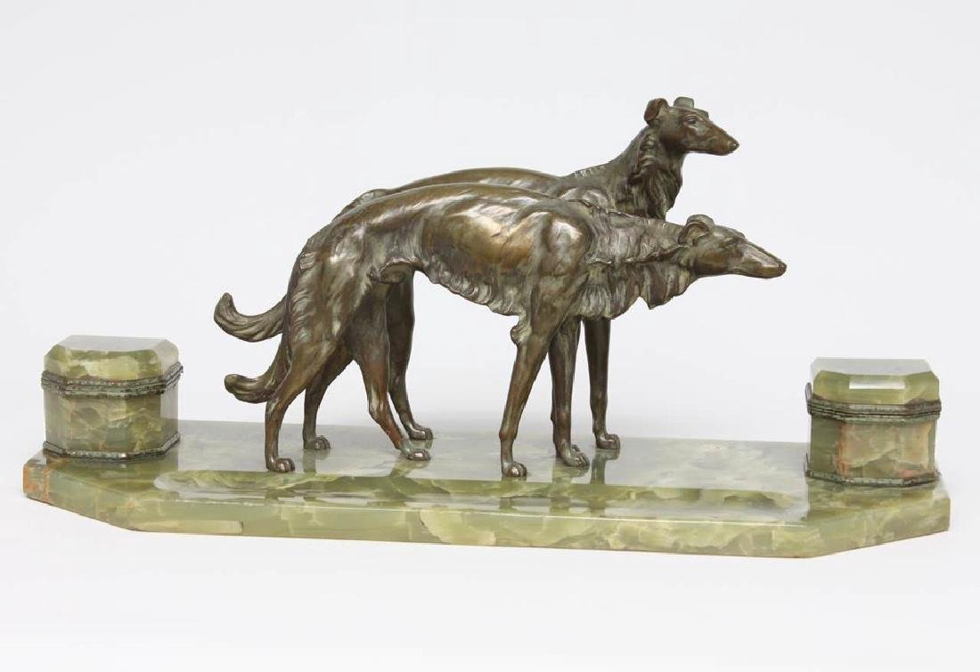 French Bronze and Onyx Inkstand with a Pair of Borzoi - 2
