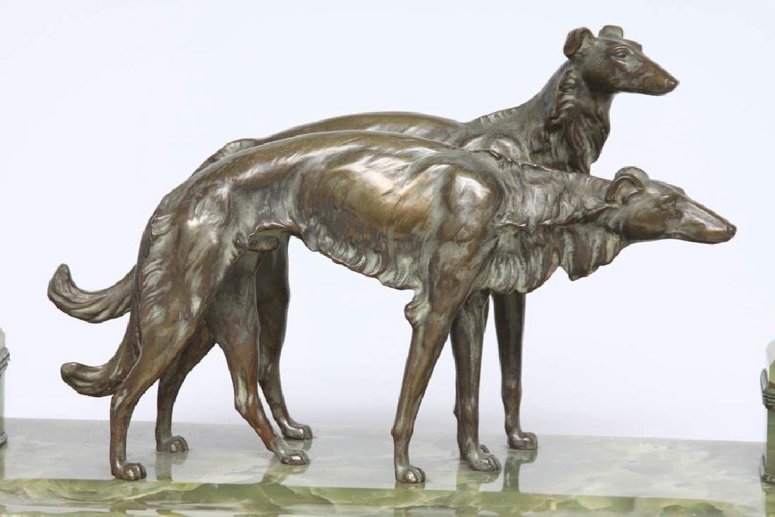 French Bronze and Onyx Inkstand with a Pair of Borzoi - 3