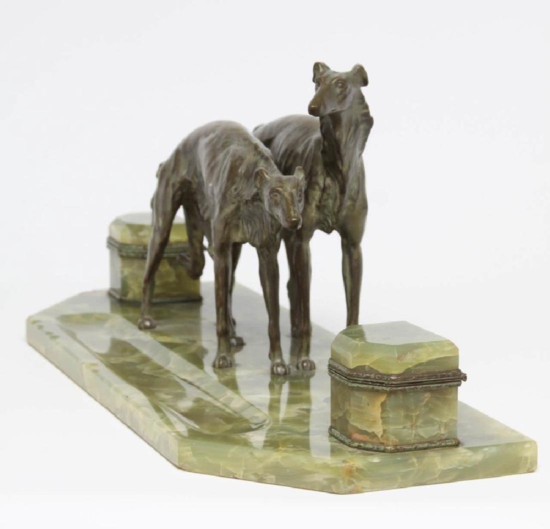 French Bronze and Onyx Inkstand with a Pair of Borzoi - 4